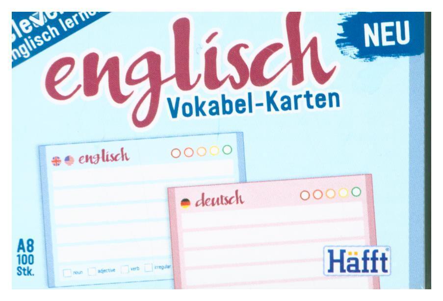 Vokabel-Karten Englisch 100 Stueck A8, Standard einzeln