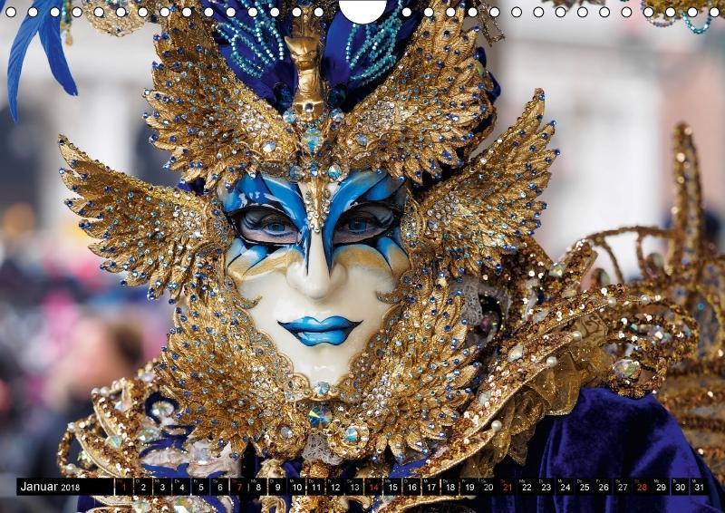 kalender 2018 din a4 karneval von venedig querformat karneval venedig masken k ebay. Black Bedroom Furniture Sets. Home Design Ideas