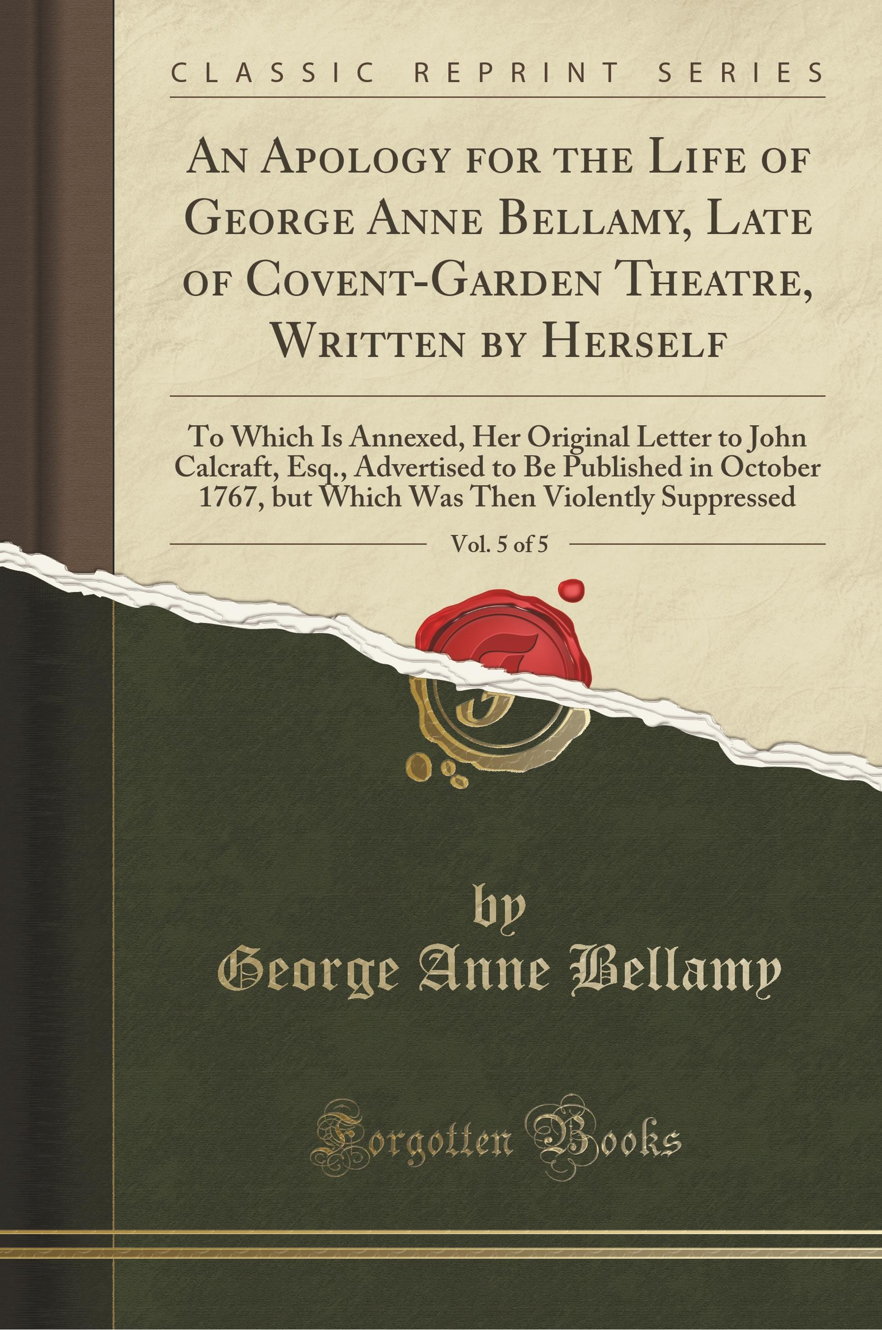 Bellamy, G: Apology for the Life of George Anne Bellamy, Lat - Bellamy, George Anne