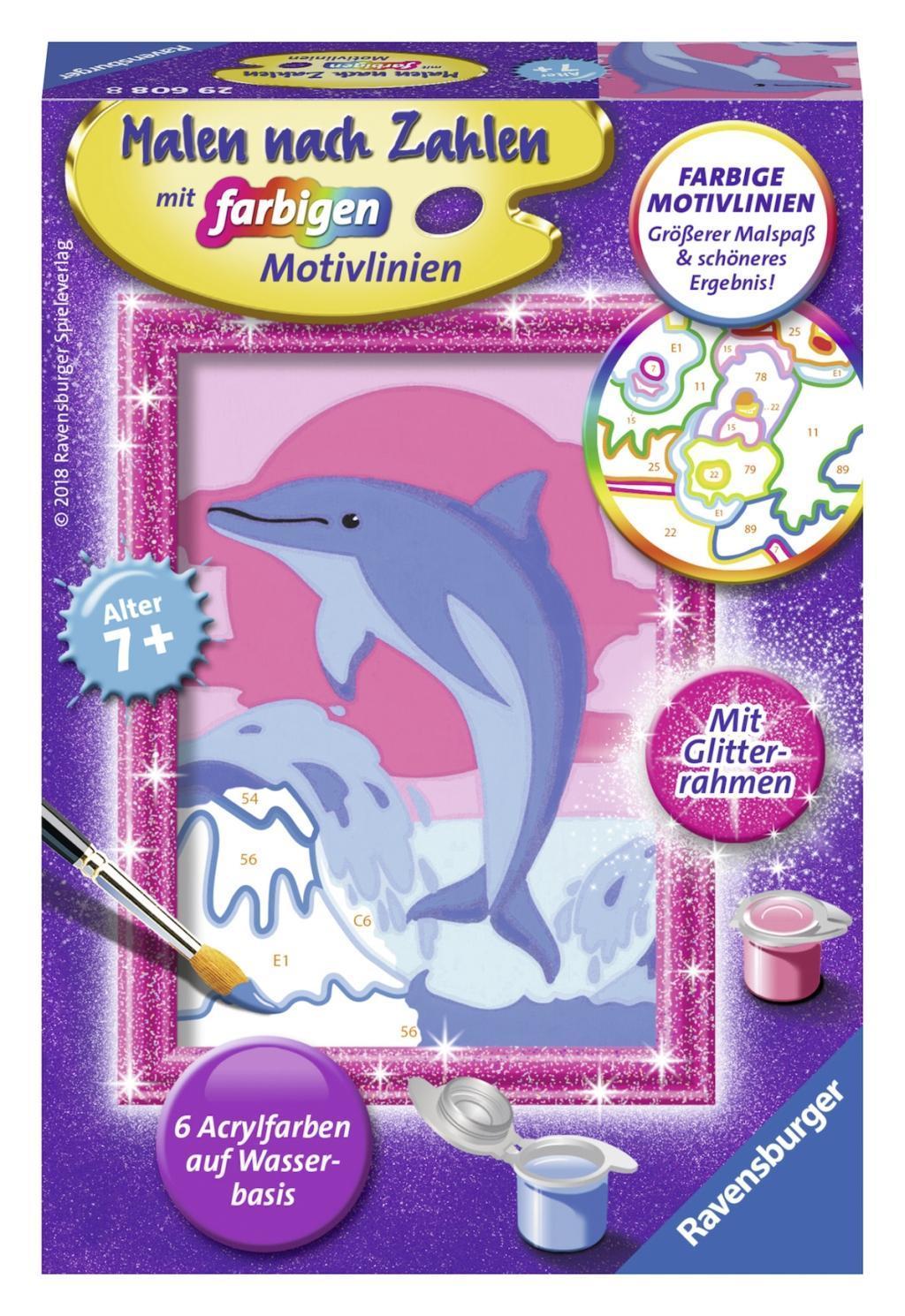 Delfin Malen nach Zahlen Serie F Mit Glitter-Rahmen! Malen nach ...