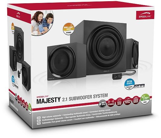 Speedlink MAJESTY 2.1 Subwoofer System, Lautsprecher-System, sch