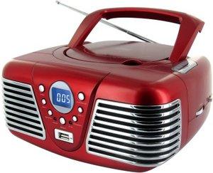 Tragbares Stereo CD-Radio CD34USB im Retro-Look der Fünfziger, rot