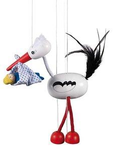 goki 51943 - Marionette Storch mit Baby Adebar, 27cm