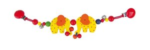 Goki 67010 - Kinderwagenkette Elefanten mit Clips, Holz