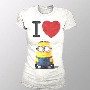 I Love Minion (Girly-Shirt M/White)