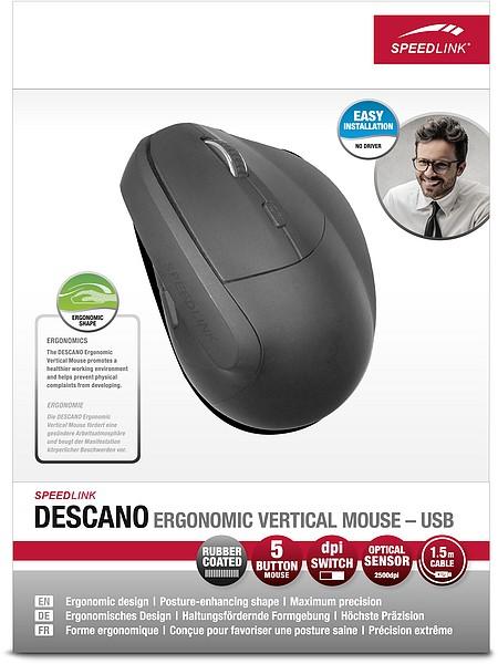 DESCANO Ergonomic Vertical Mouse - USB, black