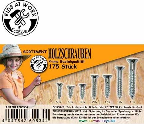 Corvus A600534 - Kids at work: Box Holzschrauben, weiss