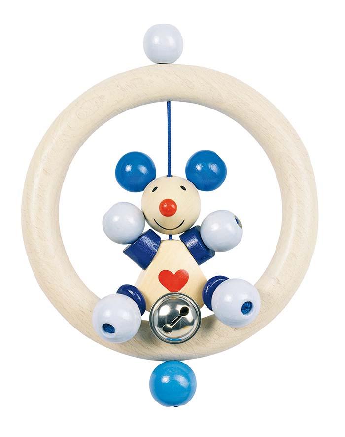 Goki 63550 - Greifling Maus (blau), Holz