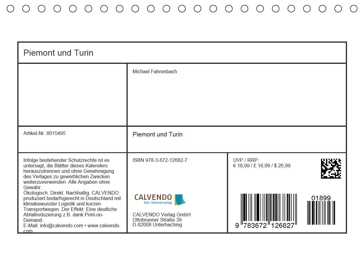Piemont und Turin (Tischkalender 2021 DIN A5 quer)