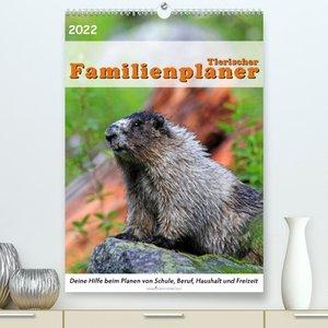Tierischer Familienplaner (Premium, hochwertiger DIN A2 Wandkalender 2022, Kunstdruck in Hochglanz)