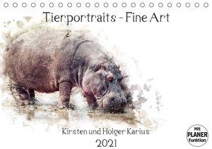 Tierportraits - Fine Art (Tischkalender 2021 DIN A5 quer)