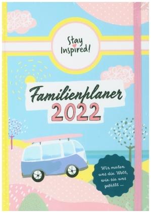 Familienplaner 2022 Hardcover mit 5 Spalten für bis zu 5 Personen in DIN A5. Familienkalender 2022 mit Extra-Seiten für viel Platz zur Essensplanung, ToDo-Listen, Notizen und Monatsübersicht.