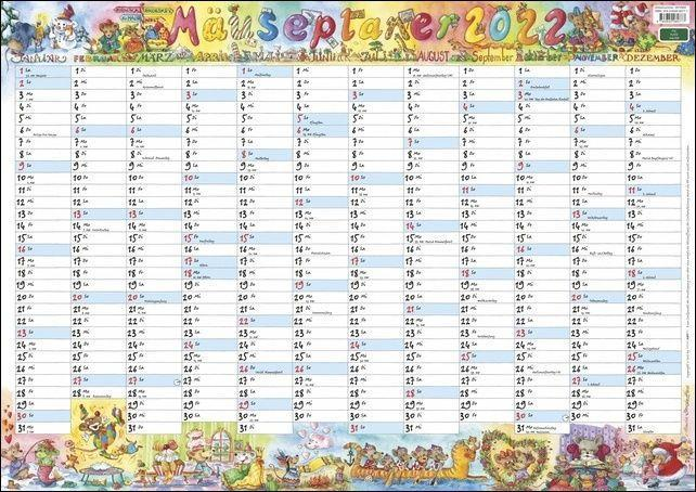Wandplaner Wilde Mäuse Kalender 2022