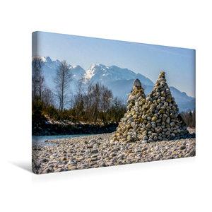 Premium Textil-Leinwand 45 cm x 30 cm quer Isar Pyramiden - Litt