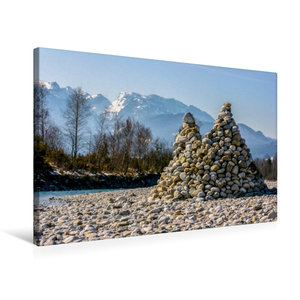 Premium Textil-Leinwand 75 cm x 50 cm quer Isar Pyramiden - Litt