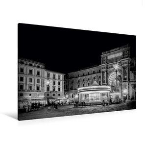 Premium Textil-Leinwand 120 cm x 80 cm quer FLORENZ Piazza della Repubblica mit Triumphbogen Arcone am Abend