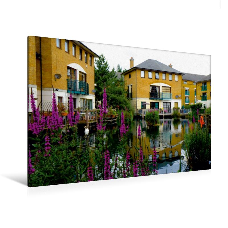 Premium Textil-Leinwand 120 cm x 80 cm quer Norwegen Dock