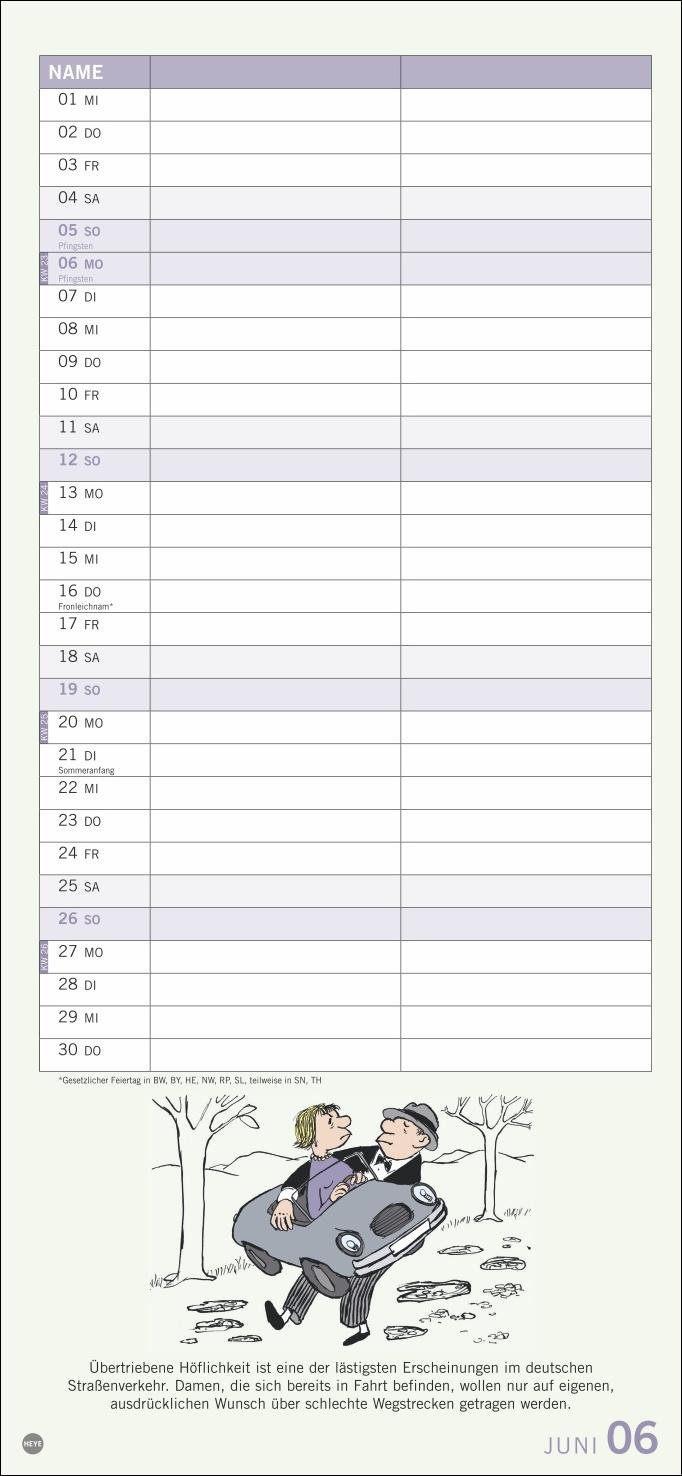 Loriot Planer für zwei Kalender 2022