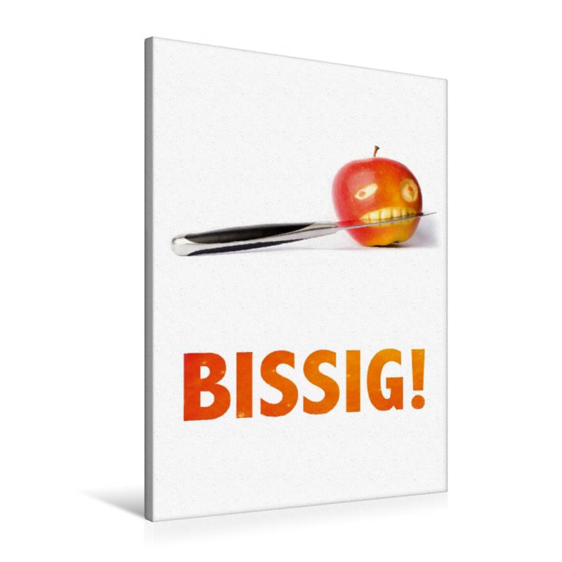 Premium Textil-Leinwand 60 cm x 90 cm hoch BISSIG - der Apfel wi