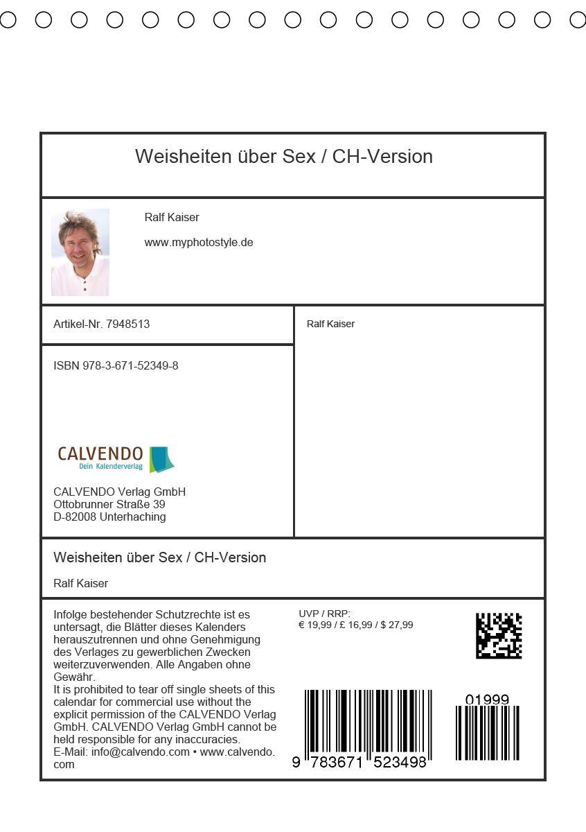 Weisheiten über Sex / CH-Version (Tischkalender 2021 DIN A5 hoch
