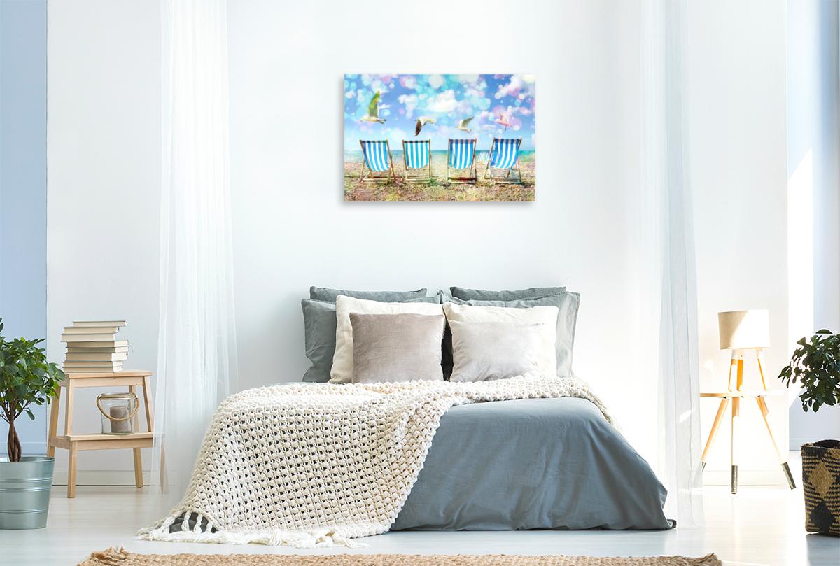 Premium Textil-Leinwand 90 cm x 60 cm quer Liegestühle mit Möven