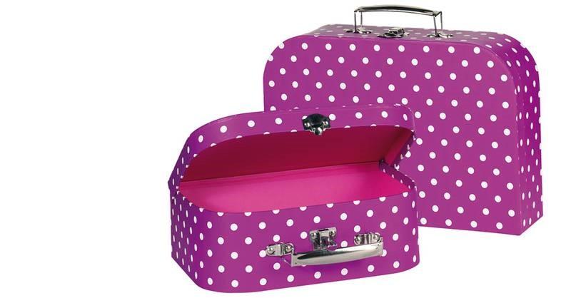 Goki 60106 - Koffer lila mit weißen Punkten, 2er Set