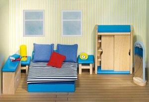 Goki 51906 - Puppenmöbel Schlafzimmer für Puppenhaus, 14 teilig,