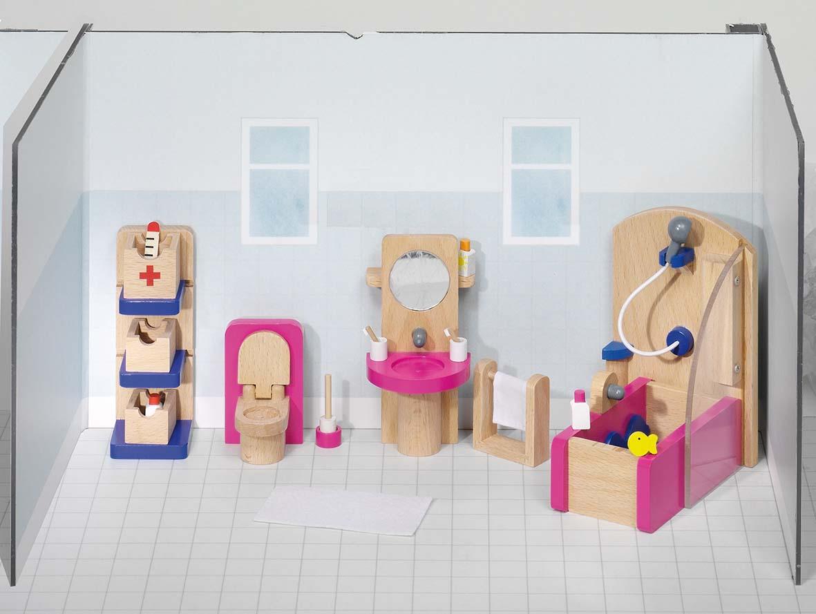 Goki 51748 - Puppenmöbel Badezimmer