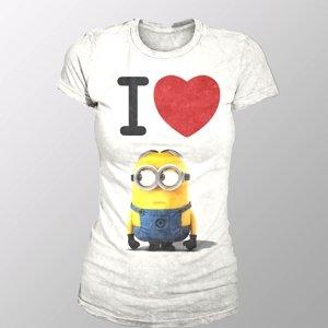 I Love Minion (Girly-Shirt L/White)