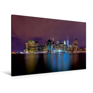 Premium Textil-Leinwand 120 cm x 80 cm quer Skyline New York City bei Nacht