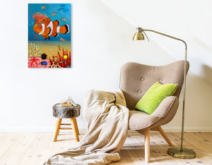 Premium Textil-Leinwand 50 cm x 75 cm hoch Mein Clownfisch Rio