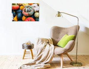 Premium Textil-Leinwand 75 cm x 50 cm quer Bunte K?rbis Vielfalt