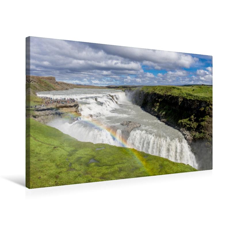Premium Textil-Leinwand 75 cm x 50 cm quer Gullfoss
