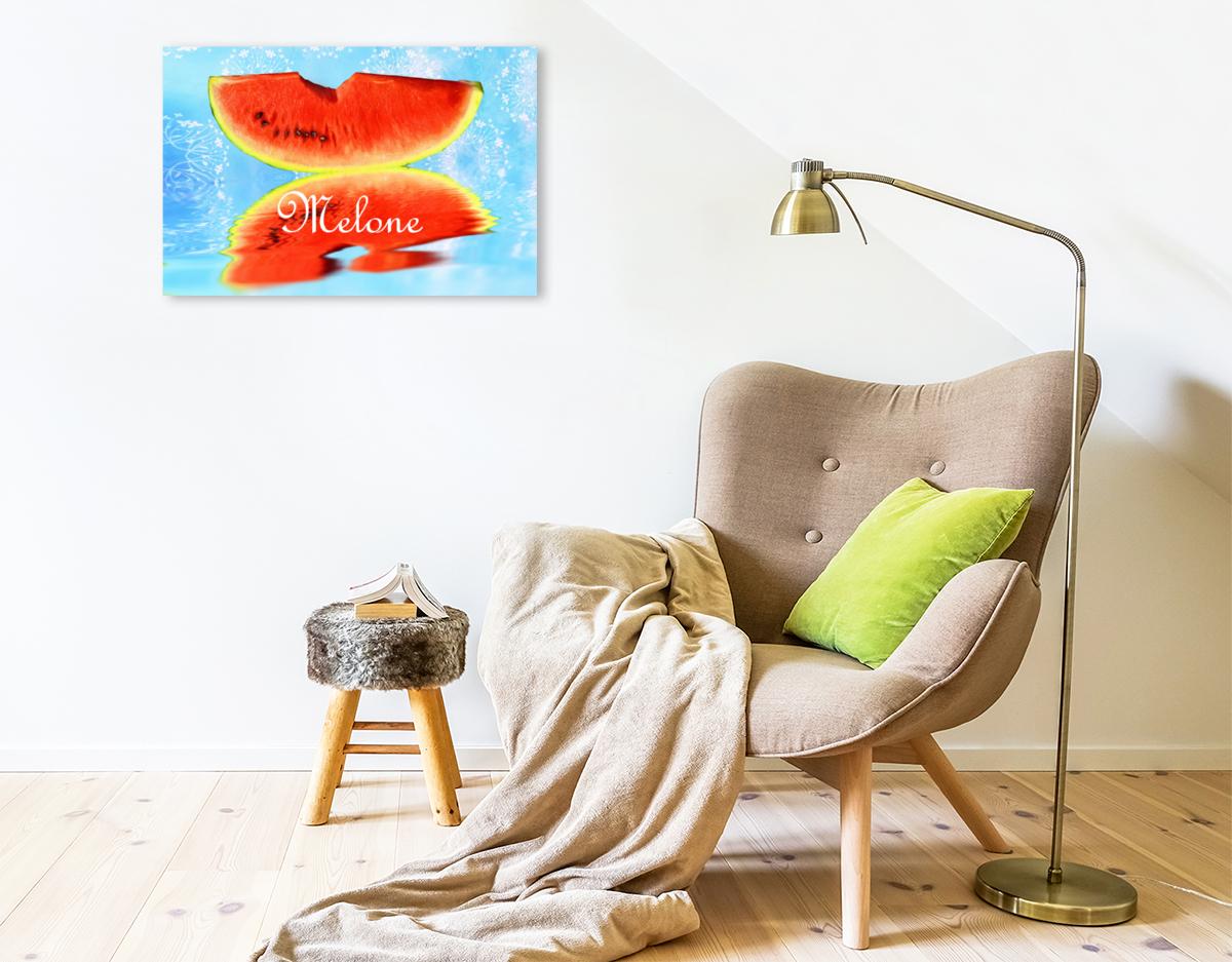 Premium Textil-Leinwand 75 cm x 50 cm quer Melone