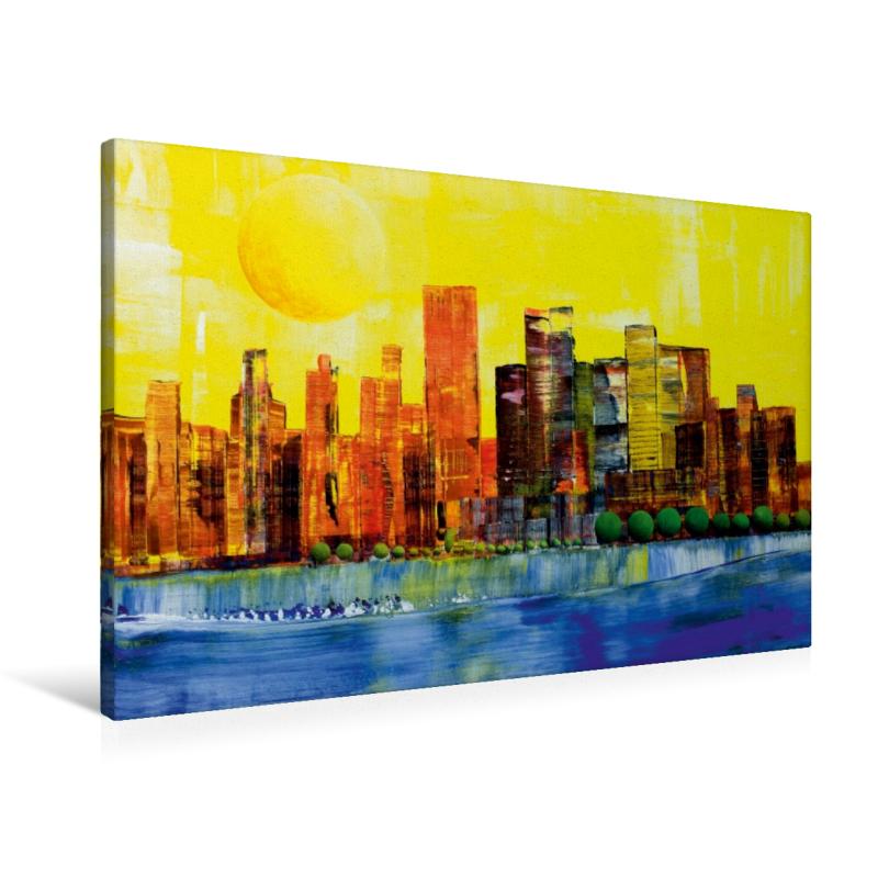 Premium Textil-Leinwand 90 cm x 60 cm quer Sonne über New York
