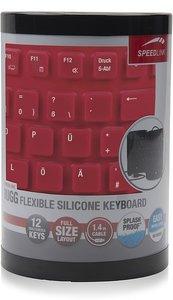 RUGG Flexible Silikon Keyboard, Tastatur (geräuscharme Tasten, aufrollbar, spritzwassergeschützt, USB), rot