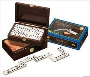 Philos 3605 - Domino Doppel 9, Wurzelholzdesign