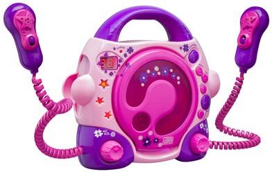 Tragbarer CD-Player CD47 mit 2 Mikrofonen - rosa/pink