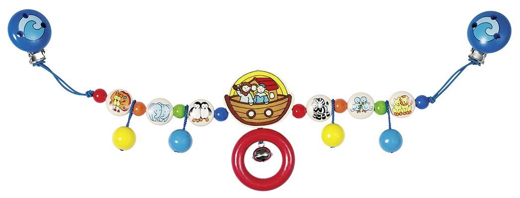 Goki 35130 Kinderwagenkette Arche Noah mit Clips, Holz