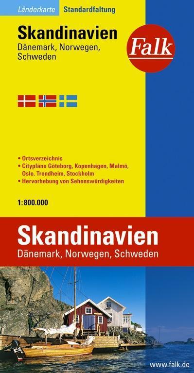 Falk Länderkarte Skandinavien, Dänemark, Norwegen, Schweden 1:80