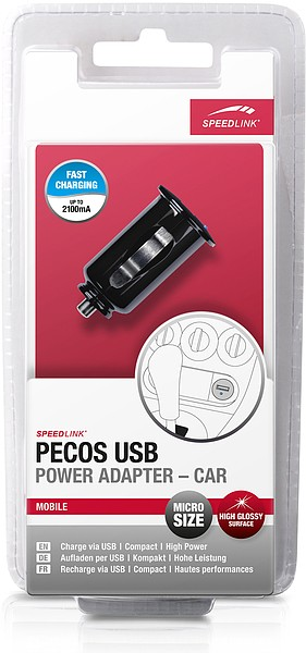 Speedlink SL-6996-BK PECOS USB Micro Power Adapter, 2100mA-Car,