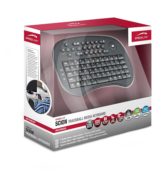 SCION Trackball Media Tastatur, black SL-6494-RBK