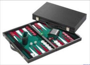 Philos 1732 - Backgammon grün, medium, Kunstleder