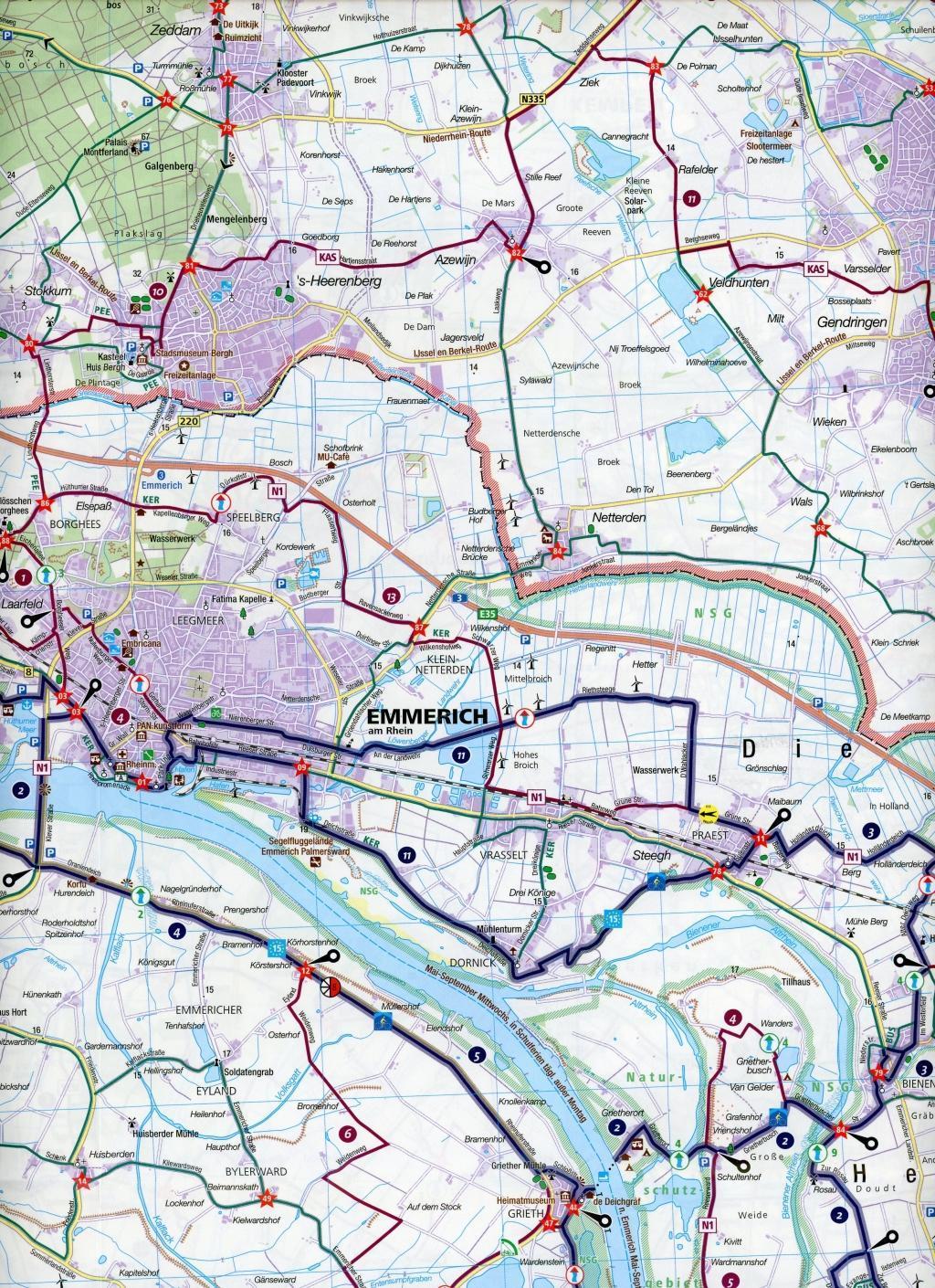 KOMPASS Fahrradkarte Kreis Kleve mit Geldern, Moers, Venlo 1:50.