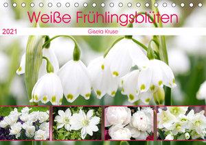 Weiße Frühlingsblüten (Tischkalender 2021 DIN A5 quer)