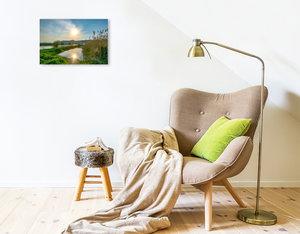 Premium Textil-Leinwand 45 cm x 30 cm quer Ruhe am Fluss, das Leben im Weserbergland geniessen