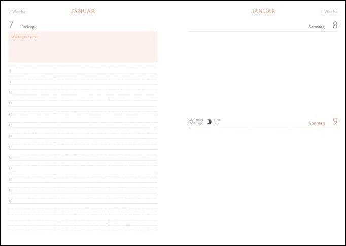 Tages-Kalenderbuch A6, schwarz Kalender 2022
