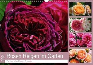 Rosen Reigen im Garten (Wandkalender 2021 DIN A3 quer)