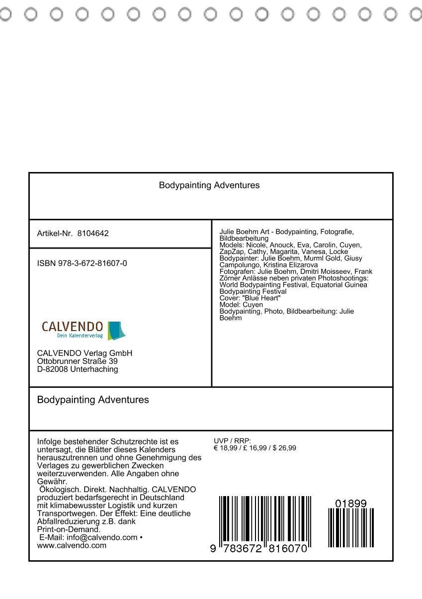 Bodypainting Adventures (Tischkalender 2021 DIN A5 hoch)