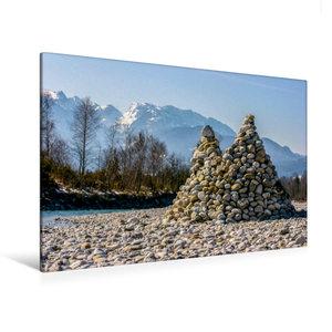 Premium Textil-Leinwand 120 cm x 80 cm quer Isar Pyramiden - Lit